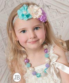 SET niñas grueso collar y diadema de bebé, diademas de bebé, collar de chicle, recién venda, venda de niño, Bebé flor diadema