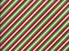 Red Green White Striped Christmas Gift Wrap Flat Wrapping Paper