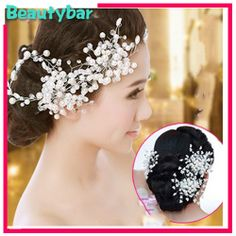 Unique Designs Quality Handmade Pearl Beads Shiny Crystals Tiaras  Wedding bridal Flora Hair Accessory headpiece