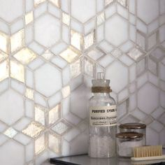 Iridescent Glass Mosaic Frost Kaleidoscope--Concept Candie Interiors offers virtual interior design services