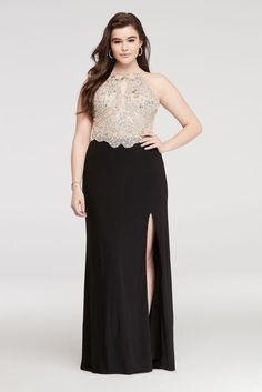 Halter Prom Dress with Beaded Bodice and Side Slit - Black, 21