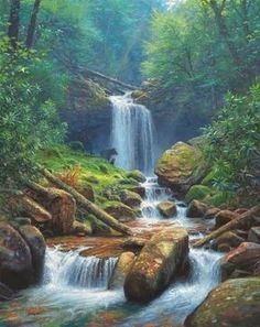 A large art gallery in Fuquay-Varina, NC, near Raleigh, features artwork from some of the top artists painting today. Beautiful Waterfalls, Beautiful Landscapes, Watercolor Landscape, Landscape Paintings, Fall Cross Stitch, Waterfall Paintings, Mystic Falls, Artist Painting, Large Art