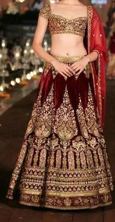Bridal Lehenga in maroon velvet
