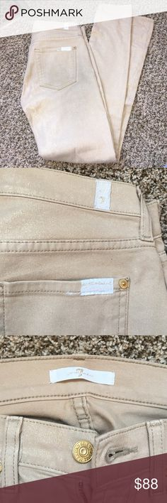 7 for all mankind gold flecked khaki 7 for all mankind khaki skinny leg pants with gold flecks throughout. Beautiful pants and only worn once. The only flaw is the bottom of the pants has a black line from rubbing against boots that I haven't tried to remove. 7 for all Mankind Pants Skinny