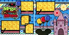 MAGIC MOUSE MOMENTS ~ DISNEY 2 premade scrapbook pages Paper Piecing ~ CHERRY #Handmade