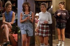 90s Jennifer Aniston (plaid skirts + crop tops + denim + white socks)