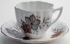 Vintage Windsor Made in England Cup and Saucer - Autumn Leaves