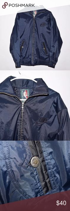 Vintage 90's Nike NBA Lightweight Jacket NATO Size Brand: Nike Item name: Men's Vintage 90's Official NBA Lightweight Jacket   Color: Blue Condition: This is a pre-owned item. It is in in excellent used condition with no stains, rips, holes, etc. Comes from a smoke free household. Size: Men's NATO Size 180/96A XXL (measures medium) Material: Shell- Polyester / Nylon Measurements: Pit to Pit - 25 inches Shoulder to bottom - 27 inches Nike Jackets & Coats Lightweight & Shirt Jackets