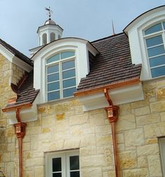 Beautiful Front Copper Gutters With Good Tips Put On Rain Gutters For Home Exterior Decoration Ideas : Good Tips Put On Rain Gutters For Home Exterior Decoration Ideas Accessories Ideas Gallery : hpMirror. House Gutters, Diy Gutters, Copper Gutters, Copper Roof, Gutter Accessories, Gutter Colors, Seamless Gutters, French Drain, Flats