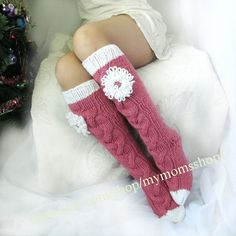 Long pink socks Long socks with a flower Hand knit socks Hand made socks Wool so. Long pink socks Long socks with a flower Hand knit socks Hand made socks Wool socks Warm winter sock. Crochet Socks, Love Crochet, Knitting Socks, Hand Knitting, Knitting Patterns, Knit Crochet, Over The Knee Boot Outfit, Holiday Socks, Cozy Socks