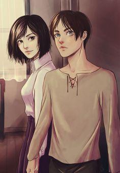 """lolakasa: """" Eren y Mikasa de la manito"""