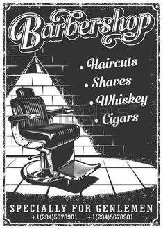 Illustration of Vintage barbershop poster with barber chair, text, and grunge texture vector art, clipart and stock vectors. Barber Poster, Barber Logo, Barber Shop Interior, Barber Shop Decor, Haircut Prices, Barber Chair Vintage, Barber Shop Chairs, Barbershop Design, Barbershop Ideas