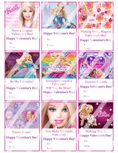 Barbie Valentines Day Cards Sheet #1 (instant download or printed)
