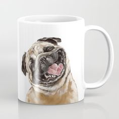 Buy Happy Laughing Pug Coffee Mug by bignosework. Worldwide shipping available at Society6.com. Just one of millions of high quality products available.