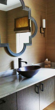 Trefoil mirror - vessel sink- clean modern but with warmth..
