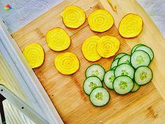 Pastas: Rodajas de pepino y remolacha dorada para armado de ravioles, en clase 6 http://www.conscienciaviva.com/ #alimentacionconsciente #veganismo