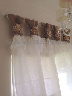 Items similar to White linen and burlap ruffles curtains - wide ruched tabs - Tea dyed rosette on Etsy