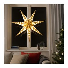 IKEA STRÅLA Pendant lamp shade Snowflake/gold-colour 100 cm Combine with a cord set and hang the shade from the ceiling as a pendant, for example over a table or in a window. Christmas Light Tester, Christmas Lamp, Led Christmas Lights, Holiday Lights, Xmas, Indoor String Lights, Hanging Lights, Star Pendant, Pendant Lamp