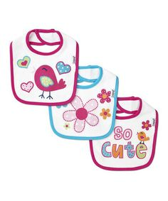 Keep feeding time frenzy-free and in control with this adorable set of bibs. Crafted from a blend of cotton and extra-absorbent polyester terrycloth, they're soft and hold up to spill after spill. An adjustable neck closure makes for the perfect fit.
