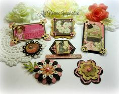 These unique handmade embellishments are great for your scrapbook pages, card making, mini albums, book and box decoration, journal and notebook embellishment, gift wrapping, altered art and any other projects your may have in mind. These were inspired by Bo Bunny Country Garden Collection.  They come in a package of six (6) and in different sizes. These are approximately between 1 and 2 inches. There is one large embellishment which is 5.5 by 3 inches. They come in green, yellow, pink…