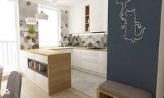 mieszkanie 68m2 w stylu duńskim - Mała kuchnia w kształcie litery u w aneksie z wyspą, styl skandynawski - zdjęcie od Grafika i Projekt architektura wnętrz