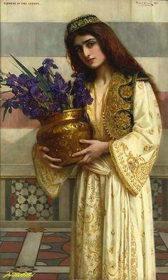 Flowers of the Levant - 1900 - Herbert Gustave Schmalz (english painter) Gypsy Girls, Pre Raphaelite, Historical Art, Classical Art, Art Plastique, Beautiful Paintings, Art Blog, Art History, Art Gallery