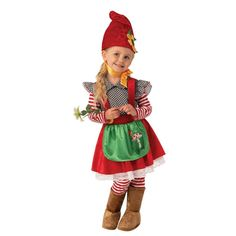 Watch over the family garden while your kid dresses up as an adorable Garden Gnome Dress Child's Halloween Costume. This is a great outfit perfect for trick or treating with your little one. Garden Gnome Halloween Costume, Little Girl Halloween Costumes, Gnome Costume, Toddler Costumes, Cute Costumes, Family Costumes, Family Halloween, Girl Costumes, Costume Ideas