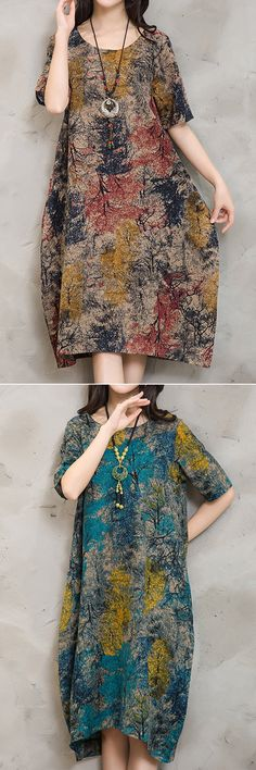 Folk Vintage Forest Print Loose Waist O Neck Dresses For Women is high-quality, see other cheap summer dresses on NewChic. Vintage Dresses Online, Vintage Style Dresses, Folk Fashion, Vintage Fashion, Cheap Summer Dresses, Oversized Dress, Patchwork Dress, Buy Dress, Loose Dresses