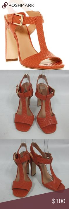 Halston Heritage Vera T-Strap Reptile Embossed New without a box Halston Heritage Vera T-Strap Reptile Embossed Sandal size: 7 M. Outsole has some sticker residue from price sticker. Shoes are in great condition !!!   Leather Upper / Leather Sole Halston Heritage Shoes Heels