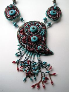 Turquoise dreams. Necklace by marimerabi.deviantart.com on @DeviantArt