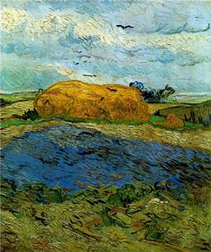 Haystack under a Rainy Sky - Vincent van Gogh - http://WikiPaintings.org