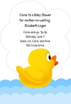 Duck New Baby   Free Printable Baby Shower Invitation Template