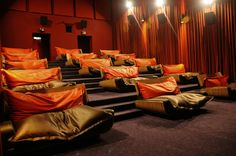 6 Movie Theaters That Will Let You Watch Their Films in Bed Bed Cinema, Cinema Theatre, Cinema Room, Movie Theater, Jakarta, Beanie, Comfy Bed, Auditorium, Decoration