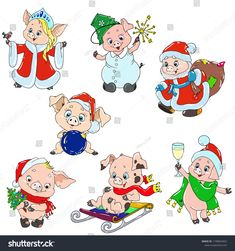 A set of cute characters for the new year. Piggy cartoon for greeting card. Vector elements for design. Christmas Characters, Cute Characters, Cartoon Characters, Pig Illustration, Christmas Illustration, Christmas Rock, Christmas Holidays, Christmas Games, Kids Bulletin Boards