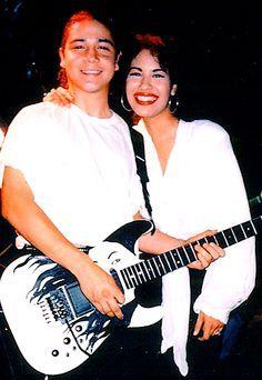 Chris & Selena with Chris' infamous Selena guitar