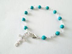 rosary bracelet, turquoise rosary bracelet,  cross bracelet,  prayer beads, Catholic rosary, January trends, gift idea. $13.00, via Etsy.