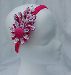 Kanzashi flower headband pink and white by RoshelysBowtique, $10.00
