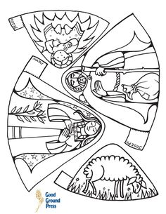 Nativity for kids to color and cut out