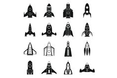 Rocket icons set, simple style. Travel Icons. $5.00
