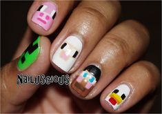 Minecraft character nails - love the chicken and sheep :D