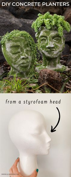 Concrete Head Planters Here's how to make concrete planters from styrofoam! Check out the full tutorial!Here's how to make concrete planters from styrofoam! Check out the full tutorial! Diy Concrete Planters, Cement Art, Head Planters, Concrete Crafts, Concrete Garden, Diy Planters, Garden Planters, Diy Concrete Mold, Flower Planters