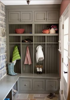 Mudroom. Storage Ideas for Mudrooms. #Mudroom  Paint Color: Irish Countryside 163-4 from Mythic (Non-Toxic Paint)