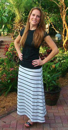 White With Thin Black Stripe Maxi Skirt