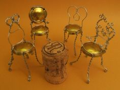Bubbly Bistro Chairs by Tamara Berg. Tiny chairs made from that metal thing that covers a champagne cork. Wine Cork Crafts, Wine Bottle Crafts, Miniature Chair, Fairy Furniture, Wine Furniture, Furniture Ideas, Furniture Design, Bistro Chairs, Champagne Bottles