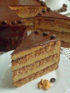 Tort orzechowy z kawą Polish Desserts, Polish Recipes, Cake Recept, Coffee And Walnut Cake, Delicious Desserts, Dessert Recipes, Different Cakes, Savoury Cake, Sweet Recipes