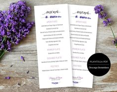 Menu de boda para imprimir