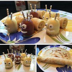 slakjes - I'd use a strawberry for the head Birthday Treats, Party Treats, Log Cake, Food Humor, Creative Food, High Tea, Caramel Apples, Food Art, Kids Meals
