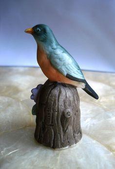 Vintage Bird with Flower Porcelain Thimble