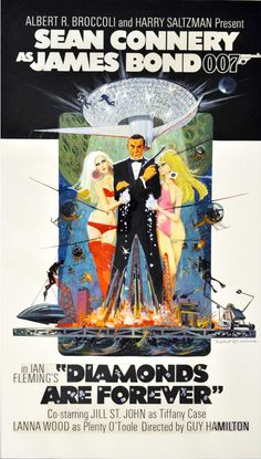 The Geeky Nerfherder: Movie Poster Art: James Bond - The James Bond Movie Posters, Old Movie Posters, Classic Movie Posters, James Bond Movies, Movie Poster Art, Film Posters, Classic Movies, Vintage Posters, Old Movies