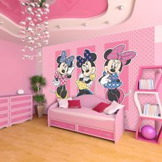 This pretty in pink digital mural featuring Disney's most stylish icon Minnie Mouse is a great way to add a touch of personality to your child's bedroom or playroom wall. The murals come supplied in 3 strips, similar to wallpaper, that join together to form the mural. All murals are 190 cms high and 276 cms wide. All the murals are easy to hang and you can do it by yourself, without help from a professional decorator, they are non woven so you paste the wall rather than the paper making it…